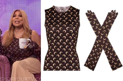 wendy williams, the wendy williams show, brown moon print top and gloves