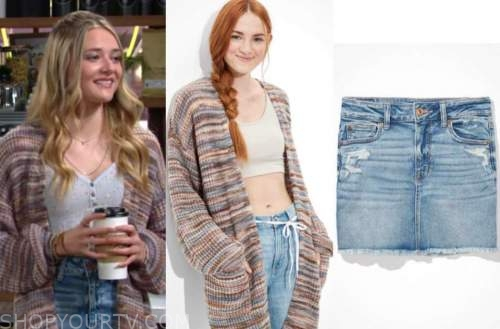 faith newman, reylynn caster, the young and the restless, cardigan, denim skirt, blue floral top