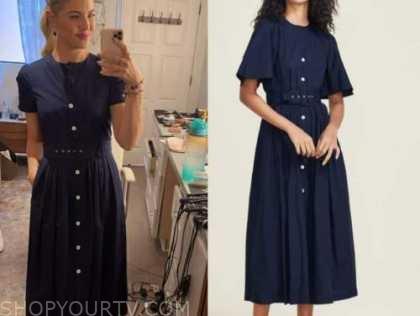 amanda kloots, the talk, navy blue belted midi dress