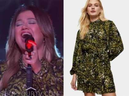 kelly clarkson, the kelly clarkson show, green leopard dress