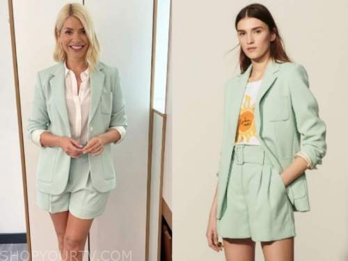 holly willoughby, this morning, mint green blazer and shorts