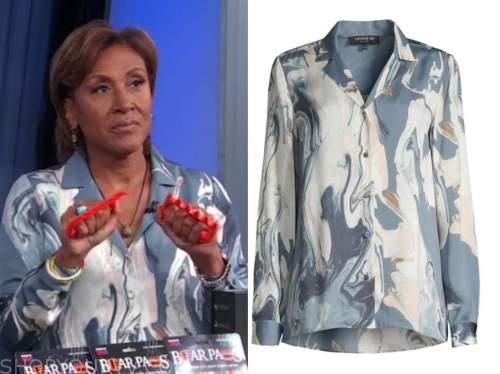robin roberts, good morning america, blue marble shirt