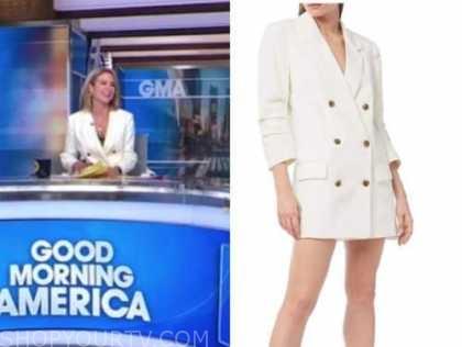 amy robach, white blazer dress, good morning america