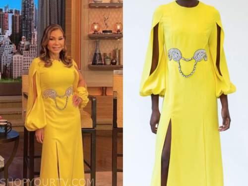 daphne rubin-vega, live with kelly and ryan, yellow split sleeve midi dress