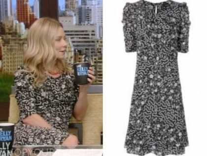 kelly ripa, live with kelly and ryan, black and white floral dress