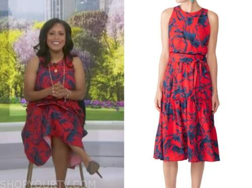 sheinelle jones, the today show, red and blue floral midi dress