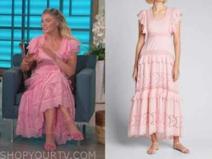 amanda kloots, the talk, pink eyelet maxi dress