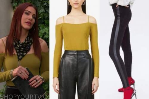 sally spectra, the young and the restless, mustard cold-shoulder bodysuit, striped pants
