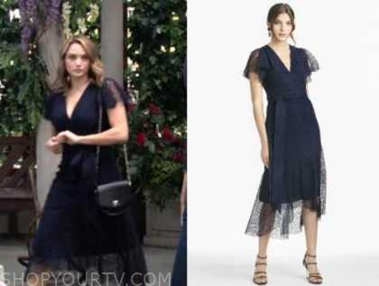 summer newman, hunter king, the young and the restless, navy blue lace midi dress