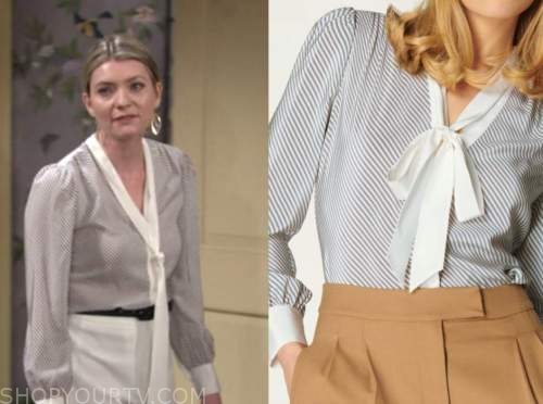 tara locke, the young and the restless, striped tie neck blouse