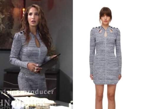 lily winters, christel khalil, the young and the restless, blue ribbed knit dress