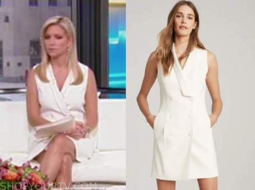 ainsley earhardt, fox and friends, white blazer dress