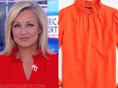 sandra smith, america reports, coral orange ruffle neck top