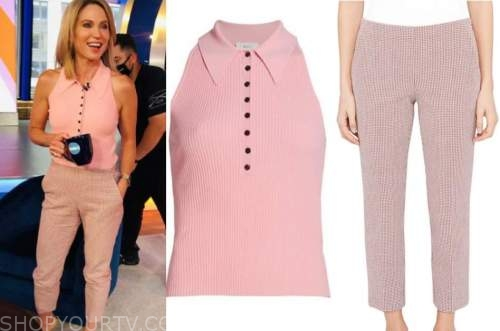 amy robach, good morning america, pink knit polo top, pink gingham pants