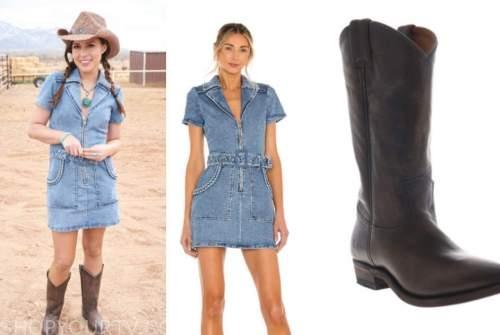 katie thurston, the bachelorette, denim dress, brown boots