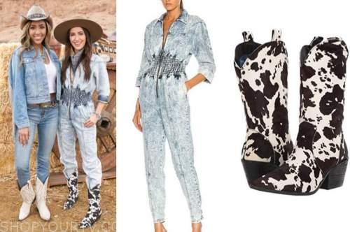 kaitlyn bristowe, the bachelorette, acid wash denim jumpsuit, cow boots