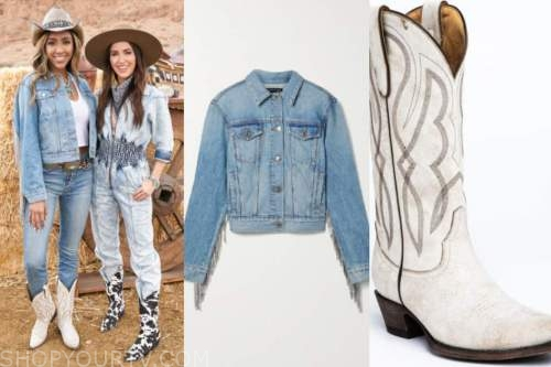 tayshia adams, the bachelorette, denim fringe jacket, white cowboy boots