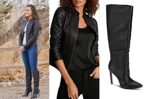 katie thurston, the bachelorette, black leather jacket, black boots