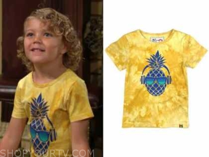 harrison locke, kellen enriquez, the young and the restless, yellow tie dye pineapple top
