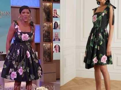 tamron hall, tamron hall show, black floral dress