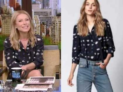 kelly ripa, live with kelly and ryan, navy blue and white polka dot top