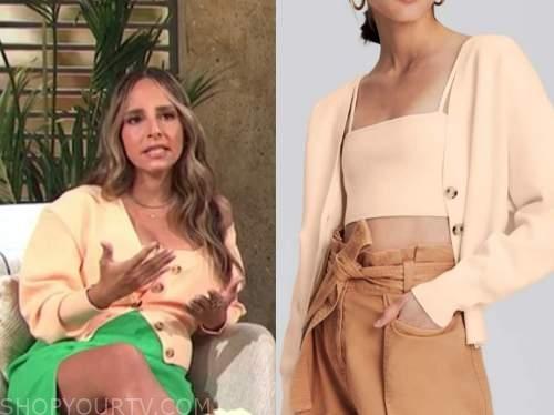 lilliana vazquez, E! news, daily pop, peach crop top and cardigan sweater