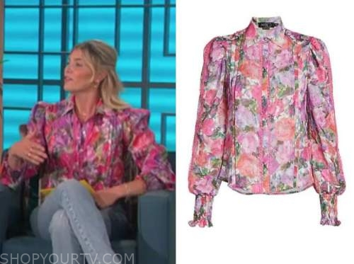 amanda kloots, the talk, pink floral blouse
