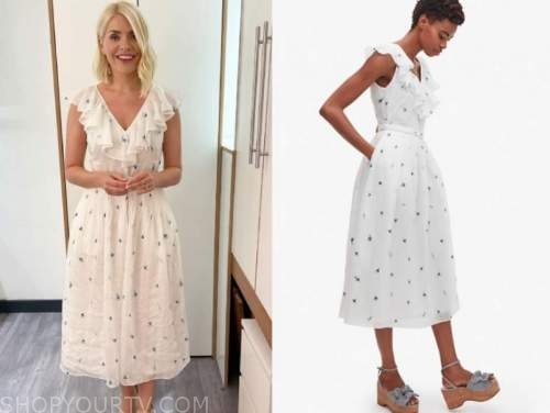 holly willoughby, this morning, white floral midi dress