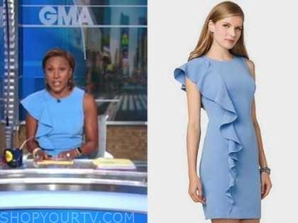 robin roberts, good morning america, blue asymmetric ruffle sheath dress