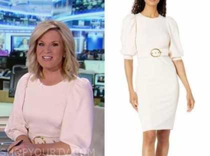 martha maccallum, america's newsroom, blush pink belted dress