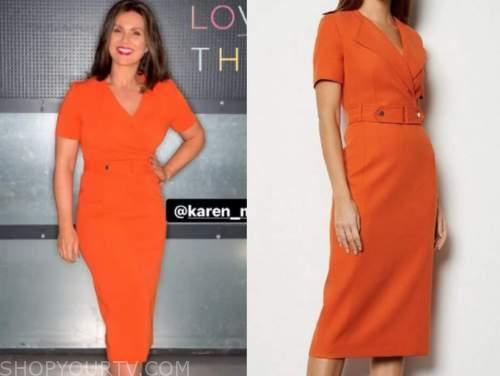 susanna reid, good morning britain, orange belted dress