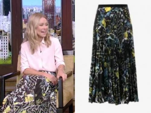 kelly ripa, live with kelly and ryan, black floral pleated skirt
