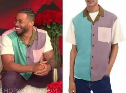 mike johnson, E! news, daily pop, colorblock shirt