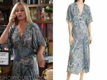 sharon newman, sharon case, the young and the restless, blue paisley midi dress