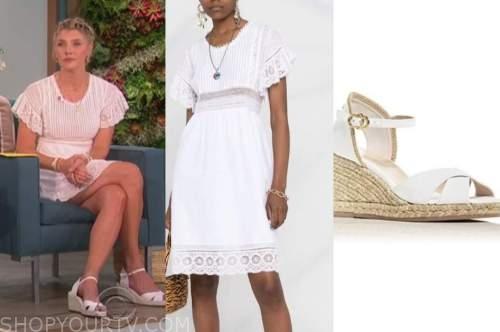 amanda kloots, the talk, white lace dress, white sandals