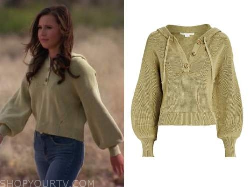 katie thurston, the bachelorette, green lace-up sweater