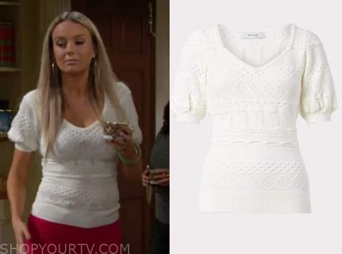 abby newman, melissa ordway, the young and the restless, white pointelle sweater