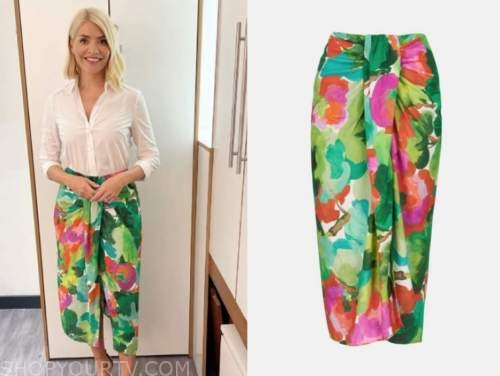 holly willoughby, this morning, green and pink floral skirt