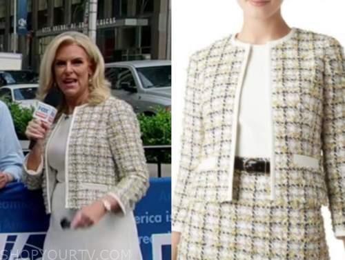 janice dean, fox and friends, tweed contrast trim jacket