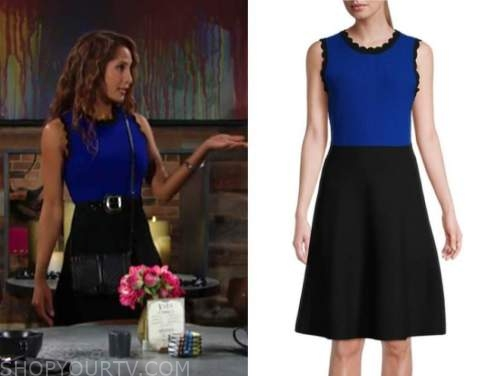 lily winters, christel khalil, the young and the restless, blue and black knit scallop dress
