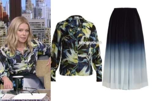 live with kelly and ryan, kelly ripa, blue and yellow printed shirt, blue ombre skirt