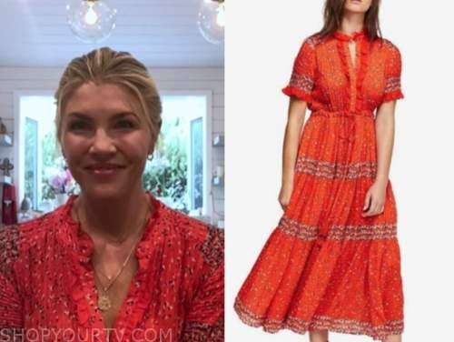 the today show, amanda kloots, red floral midi dress