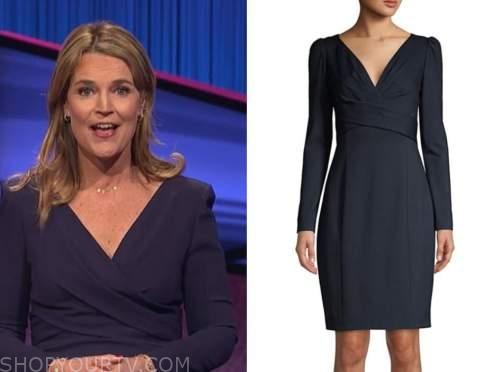 savannah guthrie, jeopardy, navy blue sheath dress