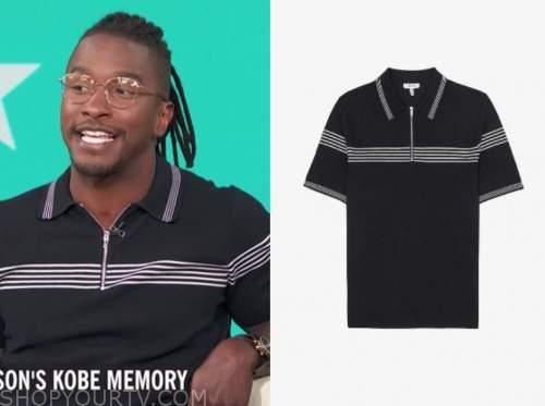 scott evans, access daily, navy blue striped knit polo shirt