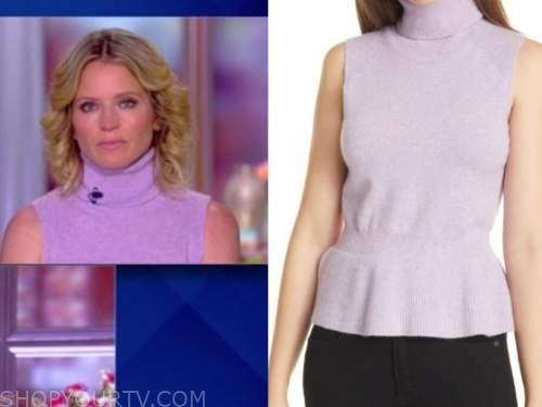 sara haines, the view, purple turtleneck sleeveless top