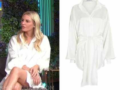 morgan stewart, E! news, daily pop, white satin tie waist shirt dress