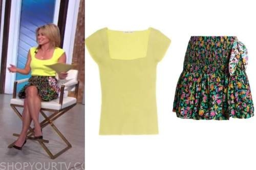 amy robach, good morning america, yellow knit top, floral skirt