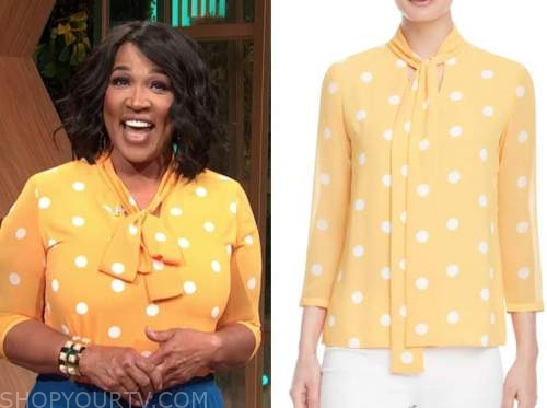 kym whitley, E! news, daily pop, orange polka dot tie neck top
