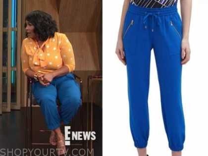 kym whitley, blue drawstring pants, E! news, daily pop