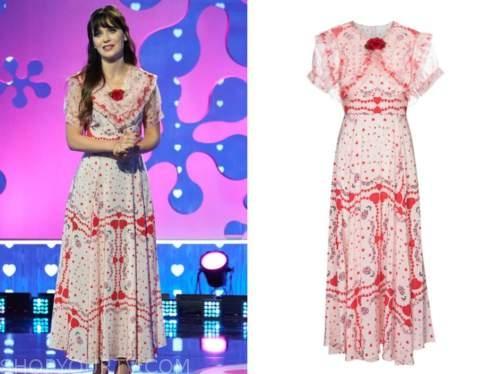 zooey deschanel, the celebrity dating game, heart print dress